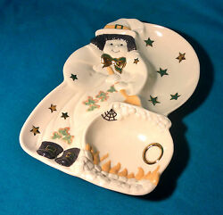Halloween Witch Dessert Serving Tray Lenox Candy Dish Plate Porcelain Retired