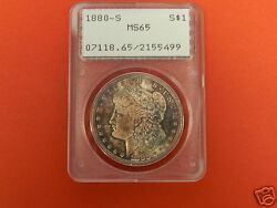 1880 S Morgan Silver Dollar Pcgs Old Holder Ms 65 Toned Obv/rev ++++ Wow Coin