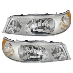 Pair Headlights Fits 98-02 Lincoln Town Car Driver And Passenger Headlamps Set