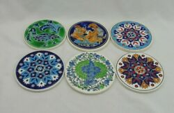 Hand Made In Greece Set 6 Coasters Different Designs