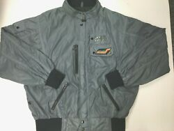 Vintage Style Auto Racing Jacket Competition Design Nylon Gray Mens Size XL