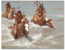 Pursuit Across The Yellowstone - By Howard Terpning - Giclee On Canvas