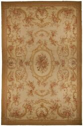 Aubusson Needlepoint Rug 12and039x18and039 Handmade Floral All Wool Flatweave Closeout New