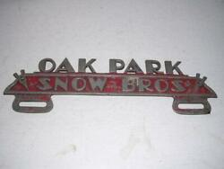 The Koolest 1930and039s Snow Bros Flathead Ford V-8 Oak Park Ill License Plate Topper