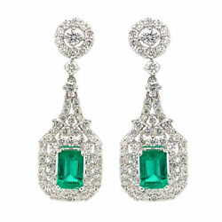 2.84 Cttw Green Emerald And Round Diamond Double Halo Drop Earrings 18k White Gold