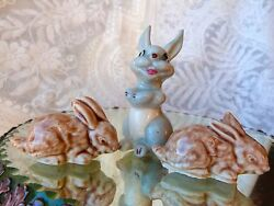 Wade Laughing Rabbit Rare Red Rose Closed Ear 3pc
