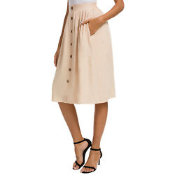 HIKA Women's Casual Button Down A-Line Hight Waisted Skirt Pleated Midi Skirt wi