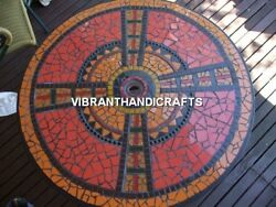 Collectible Black Marble Coffee Top Table Mosaic Inlay Stone Handmade Deco H3826