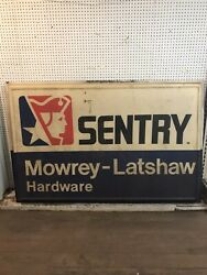 """Embossed Sentry Hardware Mowrey Latshaw Vintage Sign 72""""x48"""" Front And Back"""