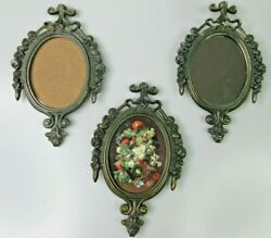 Vintage Antique Brass Rocco Frames Set Of 3 Mirror Glass Picture Made In Italy