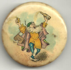 Vintage Medieval Dude Chugging Bottle Of Beer / Mead Pin Masonic