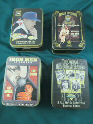 Cooperstown Collection X 4 Embossed Metal Collector Cards In Tins Baseball