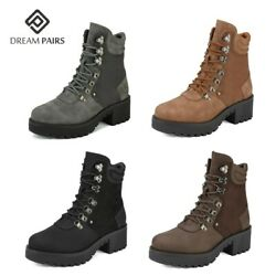 DREAM PAIRS Women's Faux Fur Ankle Boots Lace-Up Combat Mid Heel Military Shoes $26.99