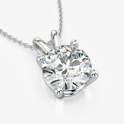 Necklace Round Cut Diamond 18k White Gold Wedding 4 Prong Solitaire Estate