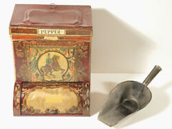 C.1888-1910 Kaiser Wilhelm Ii General Store Pepper Tin And Scoop Soldiers And Flags