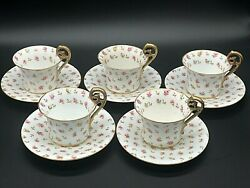 Antique Set Of 5 T And V Limoges France Hand Painted Matching Cups And Saucers Set