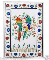 4'x2' White Marble Coffee Dining Table Top Stone Parrots And Floral Inlay Art Deco