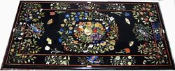 4and039x2and039 Black Marble Dining Side Table Top Rare Marquetry Floral Inlay Work H2132