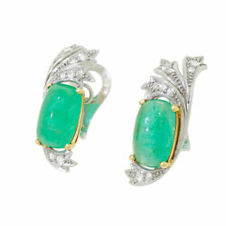 Vtg Fabulous Art Deco 16 CT Cabochon Emerald Diamond 14k Gold Palladium Earrings