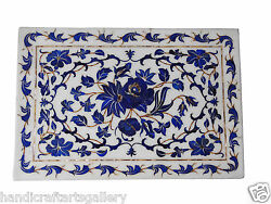 Indian Makrana Tray Plate Lapis Inlaid Work Marquetry Wedding Gifts Decor H1323