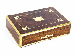 Antique Victorian Burr Walnut And Cut Brass Humidor 19th C