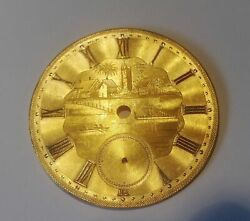Antique 14k Solid Gold Fusee Pocket Watch Dial Ship Boat And Village 6.60 Grams