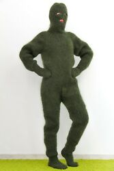 Extreme Catsuit Green Bodysuit Fuzzy Mohair Overall Mittens Socks Balaclava