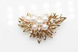 Signed 5000 And Co 7mm Cultured Pearl .40ct Vs F Diamond Brooch Pin 16g