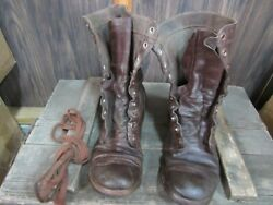 WWII Korea Jump or Combat Boots Originals Russet leather used (7D)