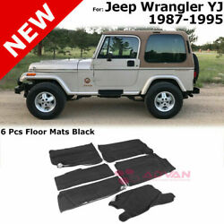 For 87-95 Jeep Wrangler Yj   6 Pieces Floor Mats Black Package Kit