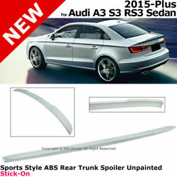 For 15-18 Audi A3 S3 Rs3 Sedan   Sports Style Abs Rear Trunk Spoiler Unpainted