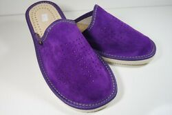 WOMEN NATURAL LEATHER SUEDE RICH PURPLE HOUSE SLIPPERS MULES SLIP ON RUBBER SOLE