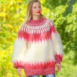 Ivory Red Mohair Sweater Icelandic Thick Handknit Fuzzy Nordic Jumper Supertanya