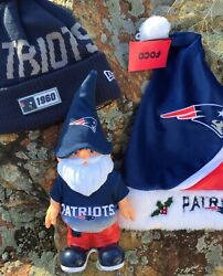 New England Patriots-1960 Beanie Christmas Hat And Garden Gnome Wow Lot 3 Items