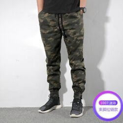 Menand039s Outdoor Elastic Waist Pants Camouflage Cargo Overalls Long Trousers Casual