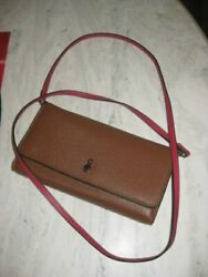 London Fog Wallet Crossbody with Wristlet Strap Brown Red Interior and Strap $15.95
