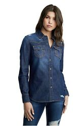 True Religion Women Denim Shirts Blouse Western Blue Ripped Distressed Casual