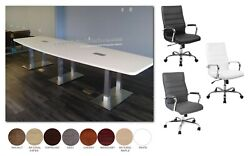 8 Ft Foot Conference Table With Metal Legs And 8 High Back Chairs In Many Colors