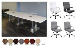 10' Foot Conference Table With Metal Legs And 8 Mid Back Chairs In Many Colors