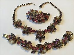 Vintage Weiss Signed Pink And Purple Rhinestone Necklace Bracelet And Brooch