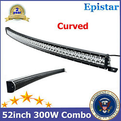 Curved 52inch 300w Led Work Light Bar Flood Spot Combo Driving Car Chevy Suv Rzr