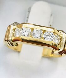 14k Solid Two Tone Gold Men's Diamond Ring 1.00 Ct 5 Stone Channel Set