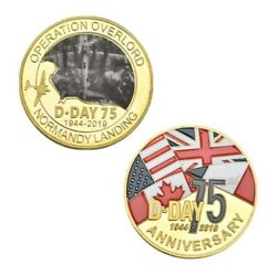Normandy Landing 75th Anniv 1944-2019 Operation Overload Gold Plated Coin 5 Of 5