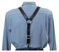 White Stitched Black Leather Suspenders Silver Ring Y Back Trigger Snap Clip