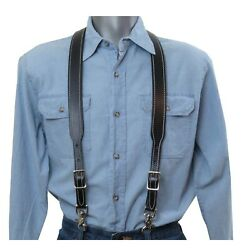 White Stitched Black Leather Suspenders Y Back Trigger Snap Clip