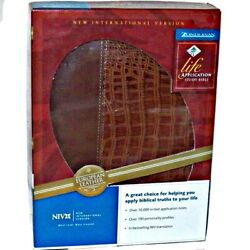 Zondervan Life Application Study Red Letter Ed Bible Tan Alligator Print Leather