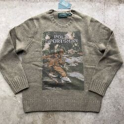 Ralph Lauren Polo Country Sportsman Front Page Wool Knit Sweater NWT
