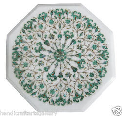 15 White Coffee Table Top Mosaic Malachite Floral Inlay Furniture Decor H1907
