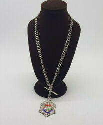 Antique Solid Silver Double Albert Pocket Watch Chain With Fobandt-bar 45.9 G.