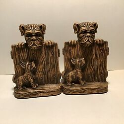 Very Rare Vintage Ornawood Dogs Bookends